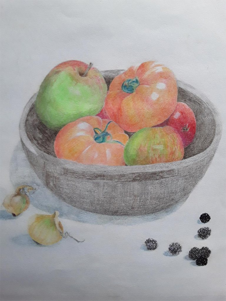 Drawing of a bowl of fruit