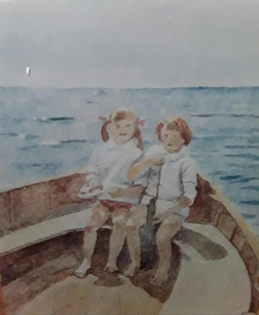 Painting of two children in a boat
