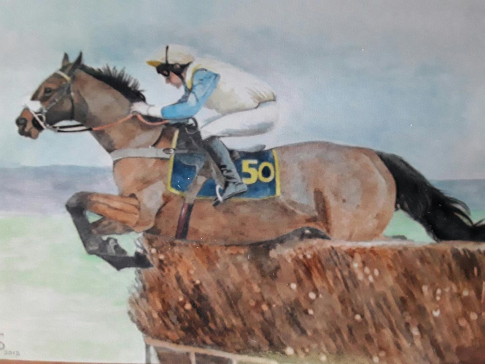 Painting of a horse jumping